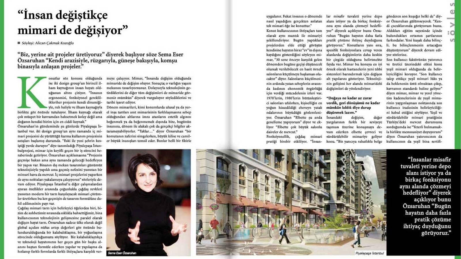 22.12.2015 S.T. Sema Eser Özsaruhan was hosted by Insaat ve Malzeme Magazine